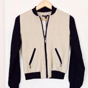 Cream & Black Linen Bomber Jacket by For Cynthia